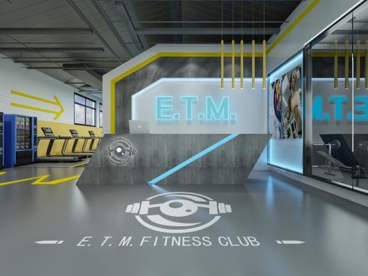 工業風健身房 前臺 器械區