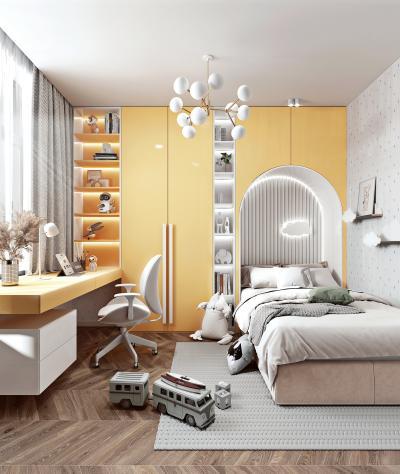现代儿童房 儿童床 书柜