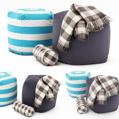 现代沙发凳 脚凳 毛毯 毯子