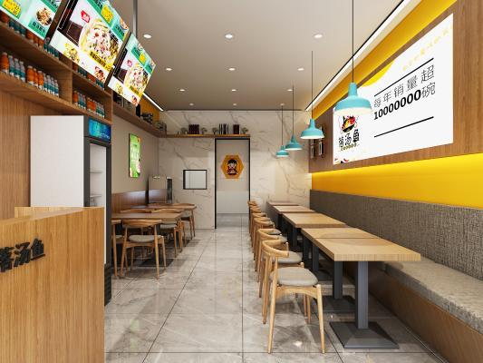 新中式快餐店 吊燈 掛畫 冰柜