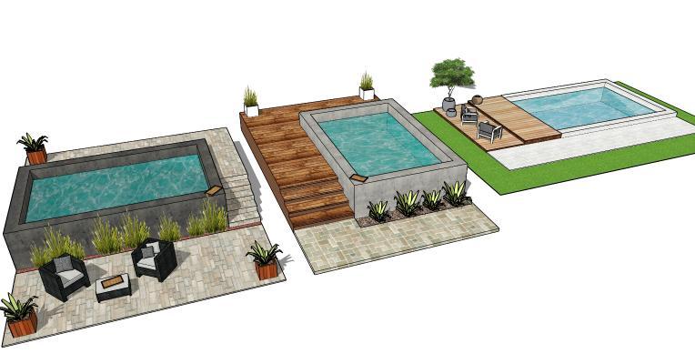 现代游泳池组合