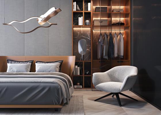 现代双人床 单椅 单人沙发