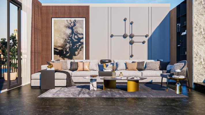 现代轻奢客厅 沙发茶几组合 装饰画