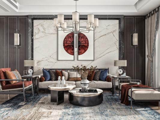 新中式客厅 多人沙发 休闲椅