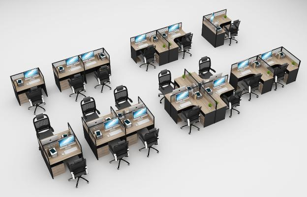 现代办公桌椅办公卡位组合
