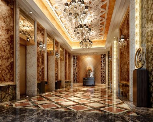 新古典酒店过道 走廊 电梯