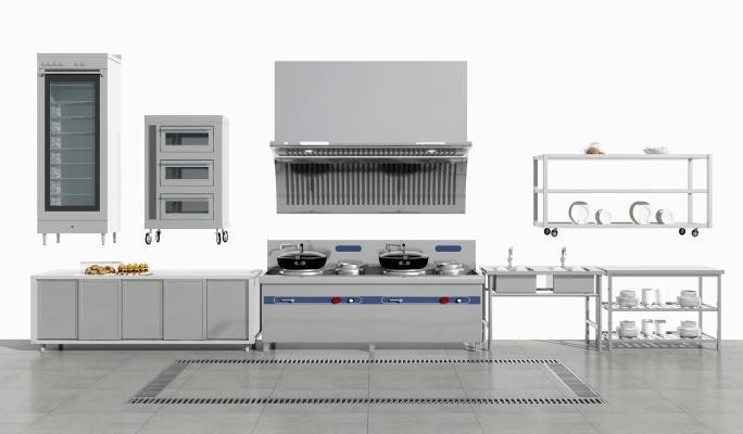 现代厨房厨具组合