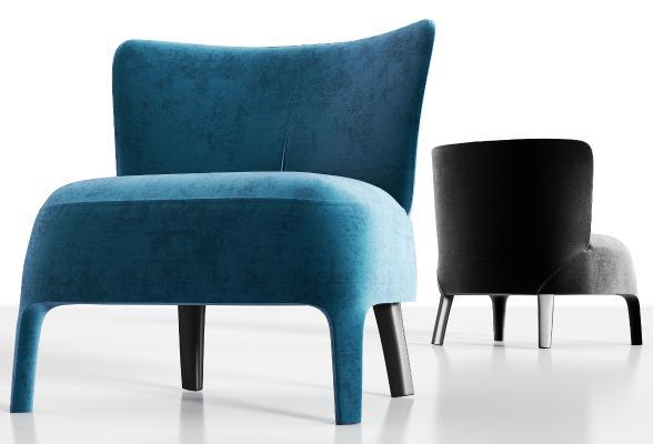 现代绒布单人沙发组合