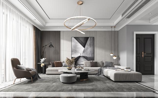 现代客厅 沙发 电视柜 吊灯 装饰画 墙饰