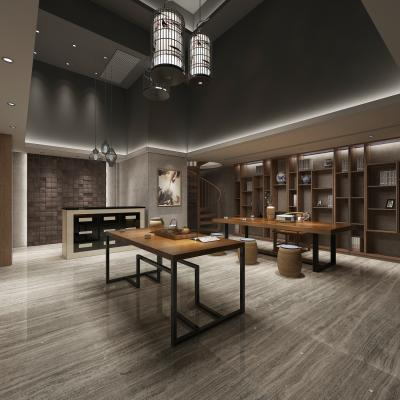 新中式茶室 铁艺茶桌 鸟笼吊灯