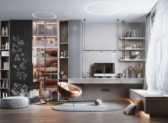 現代风格书房 书桌 书柜