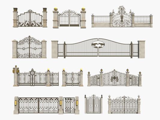 欧式铁艺大门 入口 围墙