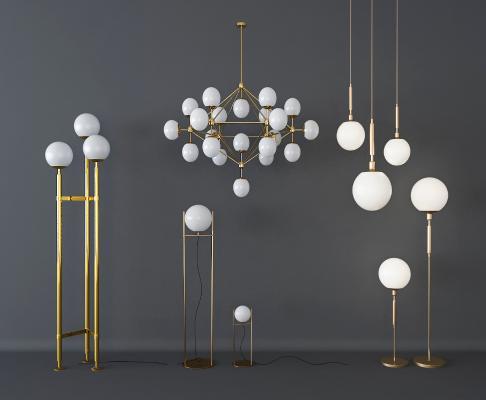现代风格灯具组合 吊灯 落地灯 台灯