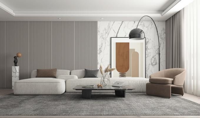 现代客厅 多人沙发 落地灯