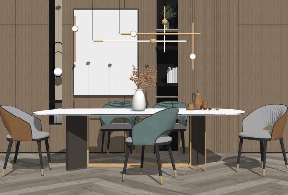 现代餐厅 餐桌椅组合 摆件