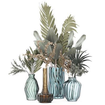 现代绿植植物盆栽 玻璃瓶花瓶 装饰摆件