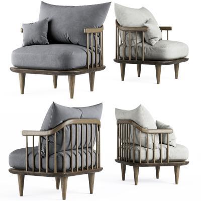现代布艺休闲单椅沙发