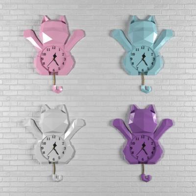 现代招财猫挂钟装饰