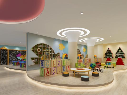 现代幼儿园 大厅 楼梯