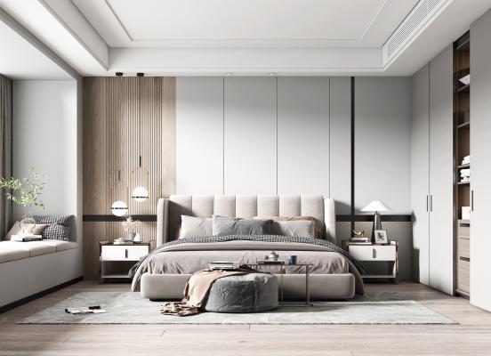 现代卧室 床品组合 床头柜 衣柜 吊灯 台灯 床尾凳 装饰品