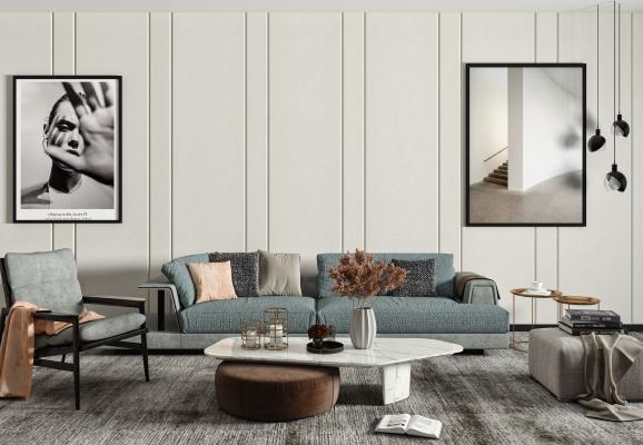 现代沙发茶几组合 双人沙发 单人椅