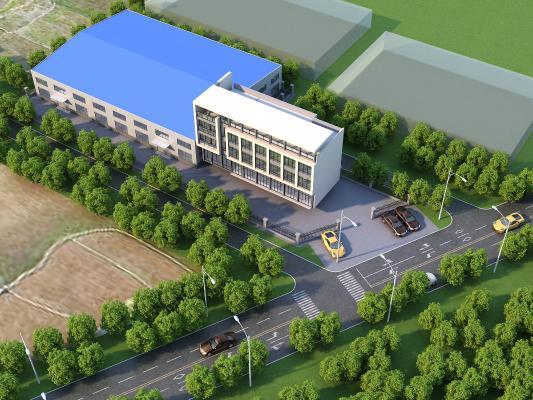 现代厂区办公建筑鸟瞰