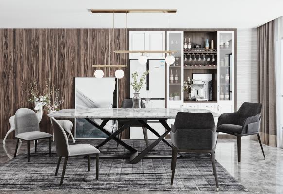 现代餐桌椅 餐桌 餐椅