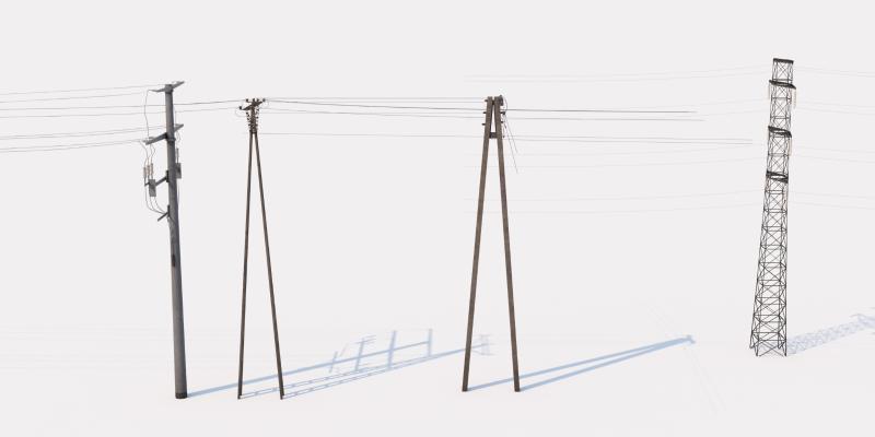 现代电线杆 电缆 信号塔