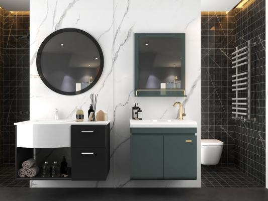 现代浴室柜洗手台组合