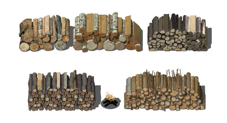 现代木柴堆 柴火堆 木头