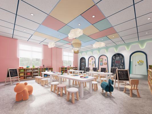现代风格幼儿园美术室 绘画室