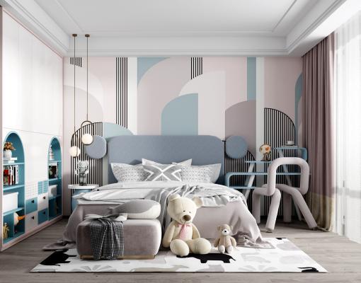 现代儿童房 男孩房 床组合 写字台 椅子 衣柜 吊灯 装饰品