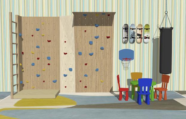 现代儿童攀岩墙 休闲桌椅 玩具组合