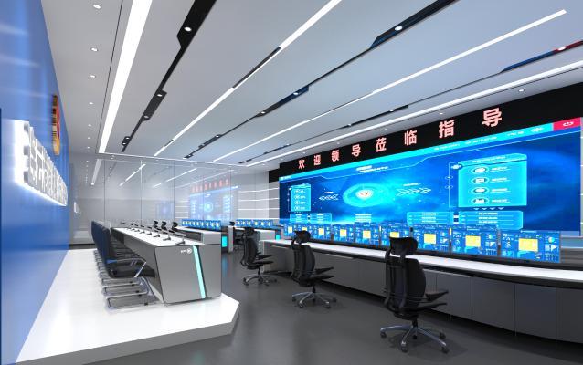现代指挥控制室 电子显示屏 桌椅