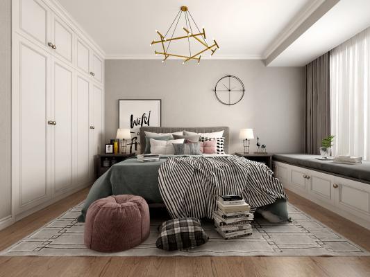 北欧卧室 床 吊灯