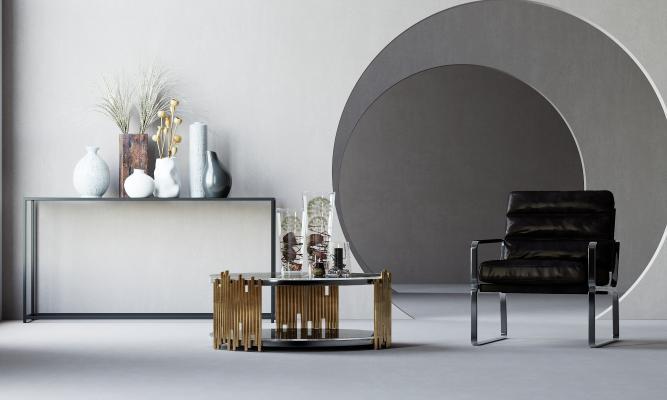 工业风单人沙发 茶几 皮质单人沙发