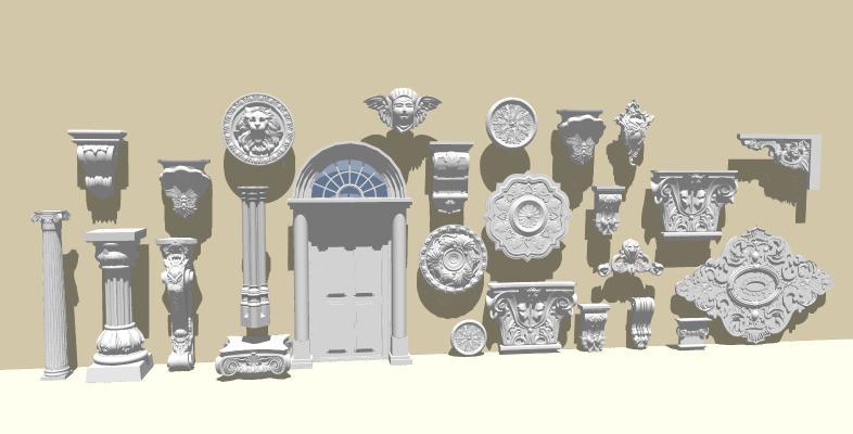 欧式雕花 门头 罗马柱