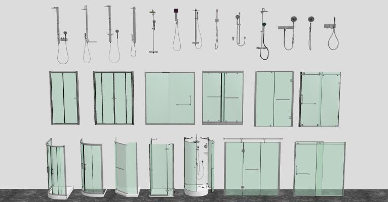 现代玻璃淋浴间花洒 淋浴房组合 淋浴玻璃隔断