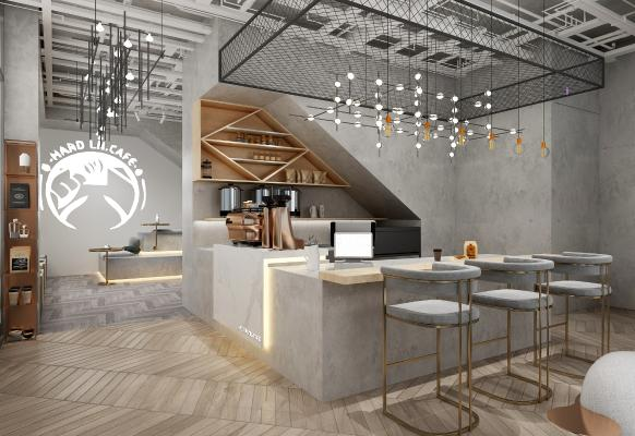 工业风咖啡厅 吊灯 收银台