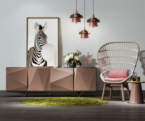 现代装饰柜 休闲椅 吊灯 装饰品 椅子 花瓶