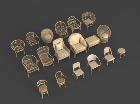 新中式藤椅组合