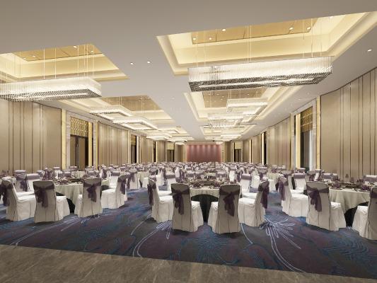 新中式宴会厅 吊灯 餐桌椅