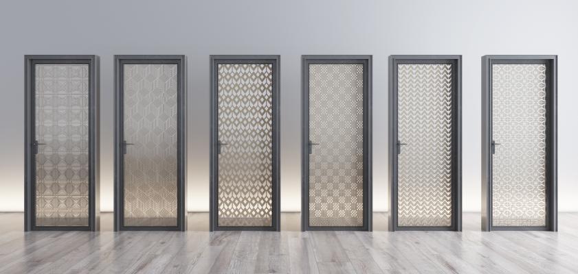 现代夹丝玻璃门