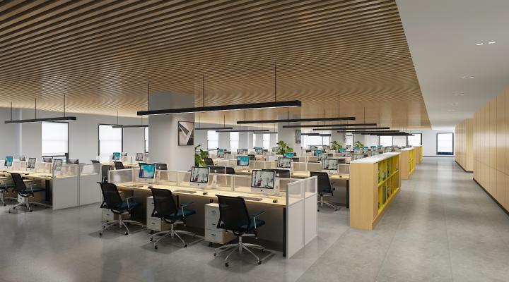 现代开放办公室 吊灯 办公桌椅