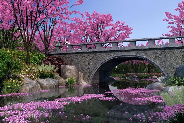 中式园林景观 樱花谷 园林