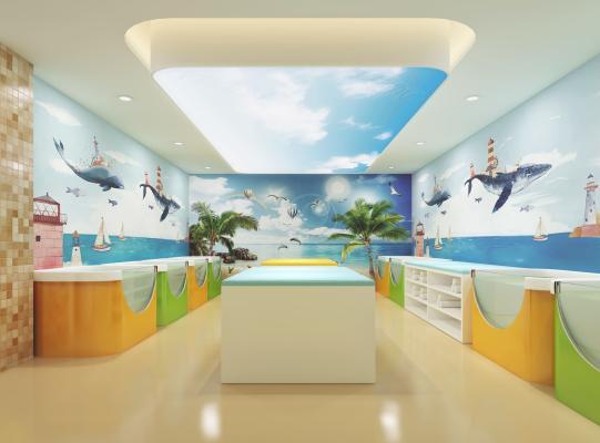 现代儿童游泳馆 游泳池 床