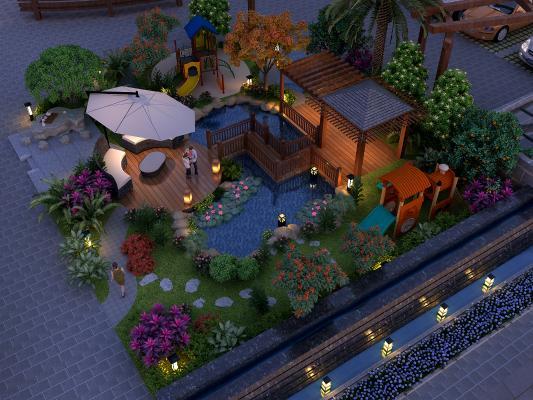 新中式小区园林夜景 庭院景观 景观组合