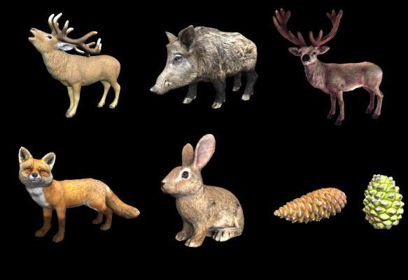 现代野生动物 麋鹿 猪 狐狸 兔子 松子菠萝组合