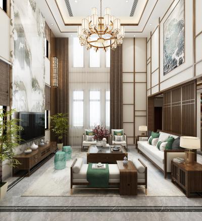 新中式别墅客厅餐厅 吊灯 壁灯