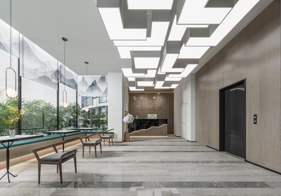 現代酒店大堂 前臺 休息區
